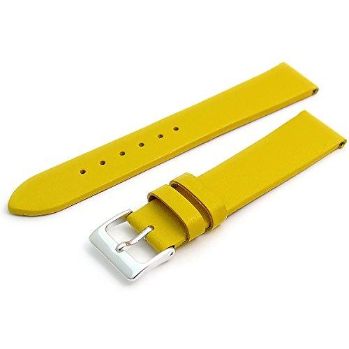 Feines Kalb Leder Uhrenarmband Band 18mm gelb mit Chrom (Silber Farbe) Schnalle. KOSTENLOSE Spring Bars (Armbanduhr Pins)