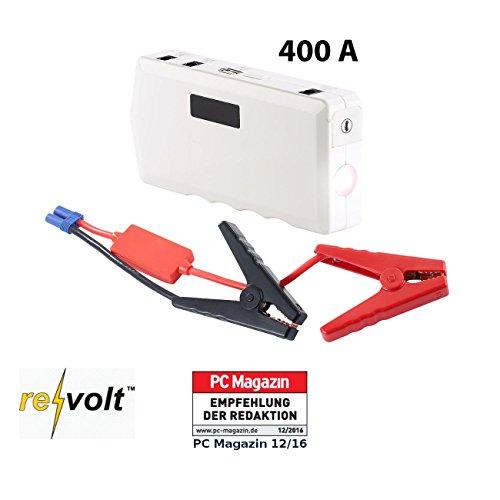 reVolt Jump Starter: Notebook-Powerbank m. Kfz-Starthilfe, Notfall-Hammer, 10.000 mAh/400 A (Starthilfegerät)