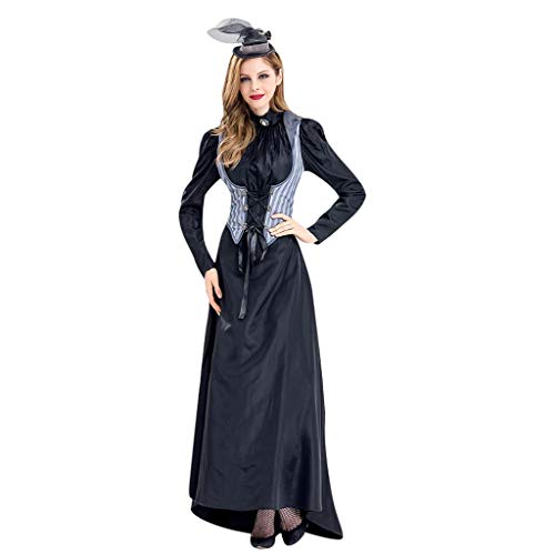 Auiyut Damen Geister Schwarze Halloween Königin Vampirin Kleid Kostüm Elegant Blutiges Halloween Geist Gespenst Horror Kostüm Party Cocktail Kleid und Hut