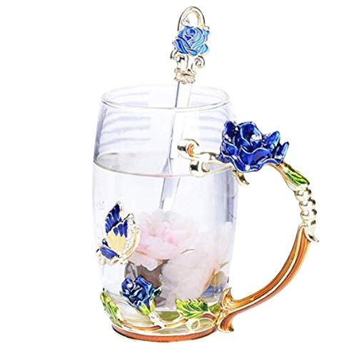 Creative Flower Glass Mug Crystal Glass Tea Cup with Handle for Hot Beverage, Iced Tea, for Sister, Mom, Grandma, Teachers- Blue Butterfly and Blue Rose (Small with gift box) Rose Crystal Tea Rose