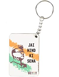 BeVeer White Color Key Chain | Indian Slogan | Subhas Chandra Bose Printing | With India's Flag Color Printing...