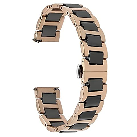 TRUMiRR 22mm Ceramic Watch Band Band Tous Les Liens amovible pour Samsung Gear 2 R380 R381 R382, Gear S3 Classic Frontier, Moto 360 2 46mm, Asus ZenWatch 1 2 Hommes, Pebble Time, LG Urbane W150