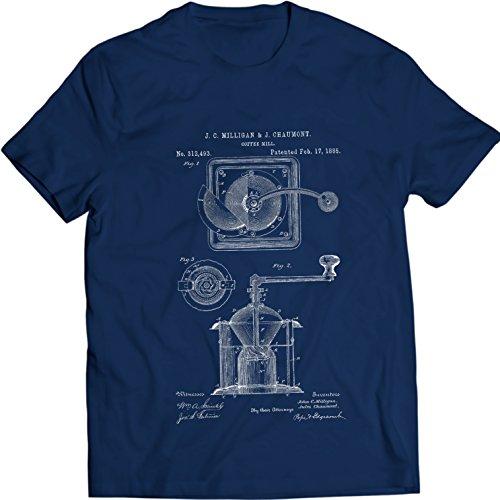 Preisvergleich Produktbild Kaffeemühle Burr echanische Mühle Vintage Patent T-Shirt Männer Geschenk Idee 100% Baumwolle (L,  Navy Blau)