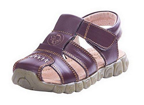 b0c2f704e02ae Evedaily Sandales Chaussures de Marche Mixte Enfant Sandales Souple Bout  Fermé en Cuir Marron