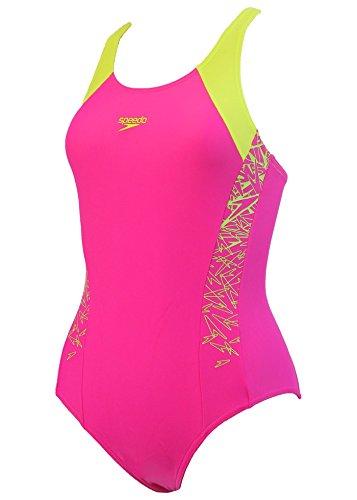 Speedo Mädchen Boom Splice Badeanzug, rosa (Electric Pink/Lime Punch), 164 (13 - 14 Jahre)