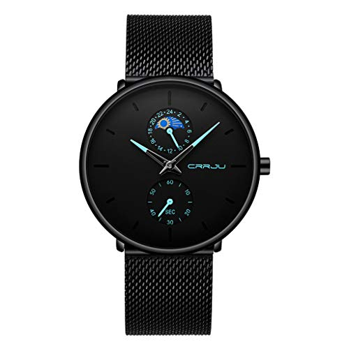 Twister Herren Uhren Minimalistischen Wasserdicht Mesh Edelstahl Armband Männer Klassisch Mode Elegant Schwarz Quarz Herrenuhr