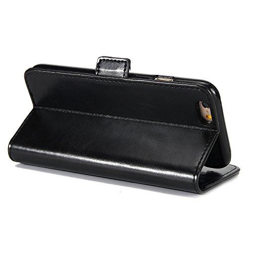 BCIT iPhone 6 Hülle - [Premium Leder Serie] Schutzhülle PU Leder Flip Tasche Case mit Integrierten Kartensteckplätzen und Ständer für iPhone 6 - Rot Schwarz