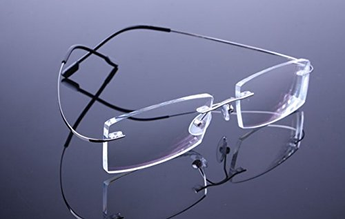 1Paar Super Light Silber Titan Lesebrille Herren Fashion Randlos Lesen Brillen Frauen Vergrößerung Reader Eyewear + 1,00 (Frauen Lesen Brille)