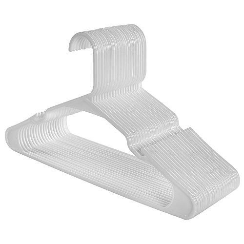SONGMICS Kleiderbügel - 50 Stück aus hochwertigem Kunststoff / mit verbreiterten Kerben, dünn, platzsparend, 41,5 cm Weiß CRP03W-50