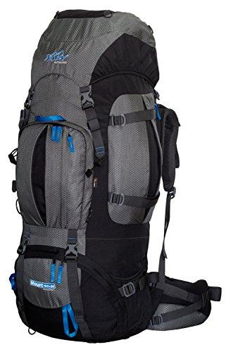 Trekkingrucksack 100L + 20L TASHEV MOUNT 120 Liter Rucksack aus Cordura® mit Regenhülle (Schwarz-Blau)