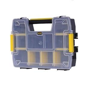 Stanley FatMax Werkzeug-Organizer Sortmaster / Aufbewahrungsbox (29x21x6.3cm, stapelbar mit Verriegelung, entnehmbare Einsätze, Aufbewahrung von Werkzeugen/Kleinteilen) STST1-70720