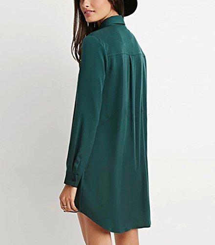 ... Damen Blusenkleid Abendkleider Freizeitkleid Normallacks Langarm Revers  Irregular Longshirt Blusenshirt Shirtkleider Grün ...