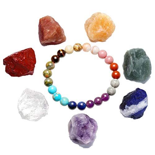 ra Healing Edelstein formlos Feng Shui Reiki Energietherapie Yoga Dekoration+Balance Buddha-Armband mit OM Anhänger für Damen Herren ()