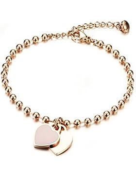 Damen Armband mit Gravur Rosegold, Gutcandie Edelstahl Kugel dopplte Herz Anhänger Perlenkette Armkette Armreif...