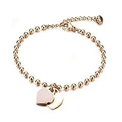 Idea Regalo - Gkmamrg Bracciale da donna in oro rosato con incisione, braccialetto di perle in acciaio inox con ciondolo a forma di cuore