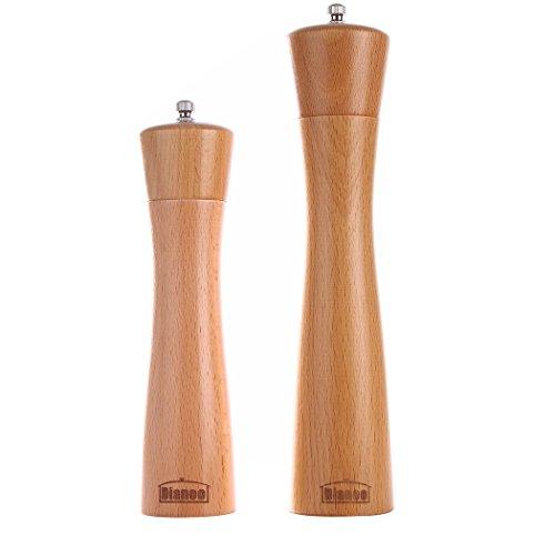 2pcs Dianoo Holz Pfeffermühle Salz- und Pfeffermühle aus Holz verstellbare Shaker mit Keramikkern 8 Zoll und 10 Zoll