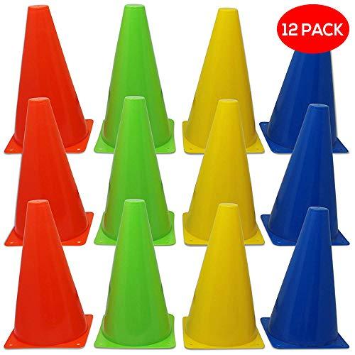 BRAMBLE! 12 Conos de tráfico de Colores para Entrenamiento. Ideales para numerosos Deportes y Juegos, y adiestramiento canino o Animal