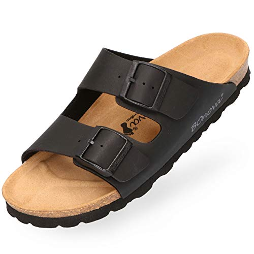 BOnova Herren Pantolette Schwanberg in 4 Farben, Bequeme Hausschuhe mit Kork-Fußbett und Riemen aus Leder - Sandalen hergestellt in der EU schwarz 40