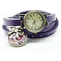 montre cuir bracelet 3 liens cabochon bronze illustré vintage, cachemire, noeud, violet