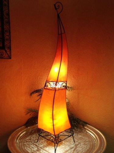 Orientalische Stehlampe Merla orange 120cm Lederlampe Hennalampe Lampe | Marokkanische Design Stehlampen aus Metall, Lampenschirm aus Leder | Orientalische Dekoration aus Marokko, Farbe Orange