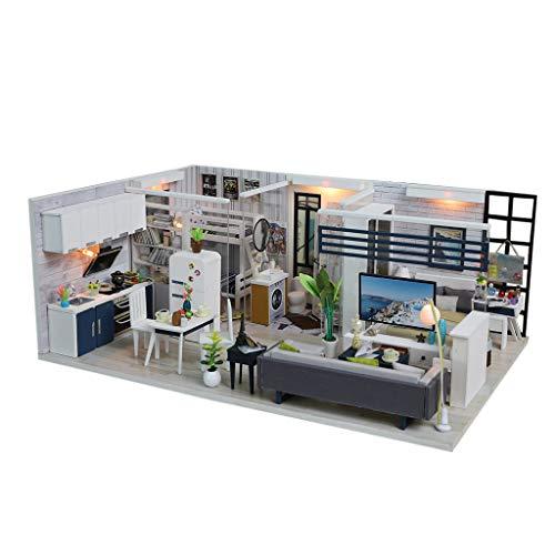 Luccase Mini Holz Puppenhaus Toy DIY Holz Mini Dollhaus mit Möbeln Haus Miniatur Kunsthandwerk Spielzeug für Kinder(Mit oder ohne Staubschutzhaube) (A) (Kinder Thanksgiving-kunsthandwerk Für)