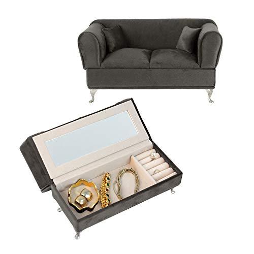Unbekannt Joyero 'Sofá' con Espejo 24x9,5x13,4cm Joyero Gris almacenaje de joyero