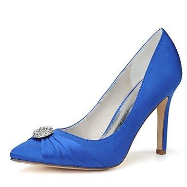 Wuyulunbi@ Scarpe donna raso Primavera Estate della pompa base scarpe matrimonio Stiletto Heel Punta strass per la festa di nozze & Sera blu e bianco Blue