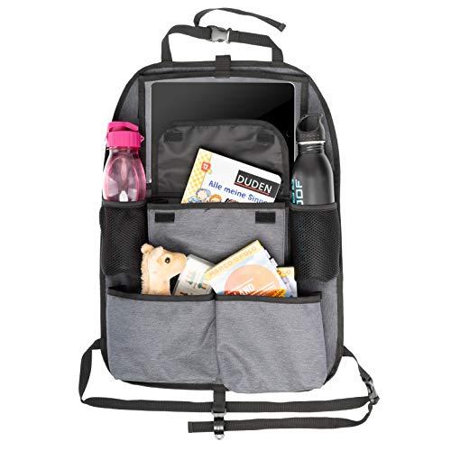 TIMARO Rücksitz Organizer Auto | Universal Kickmatte Sitzschutz Rückenlehnenschutz Rückenlehneschoner iPad - Tabletfach für Kinder | Auto Organizer Rücksitz Tasche Kinder Rückenlehenetasche