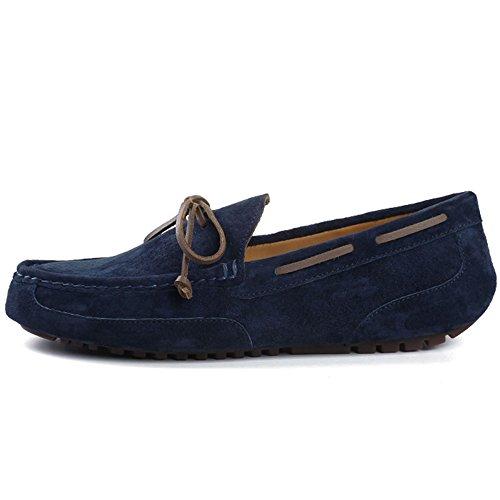 OZZEG hommes cuir Chaussures Slip on porc cuir supérieur mocassins chaussures Bleu Marine