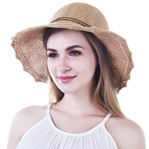 VBIGER Sonnenhut Damen Faltbarer Strohhut Damen Strandhut Damen mit schöner Schleife ... (Stroh-sonnenhut Frauen)