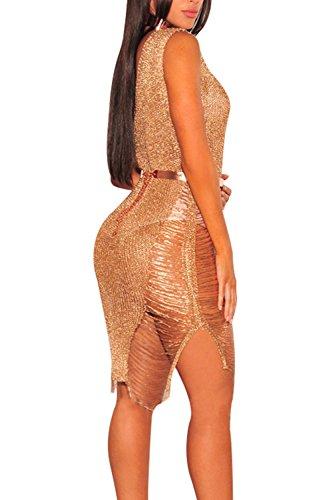 Donna Elegante Con Lo Scollo A V Scollato Svuotare Club Vestito Senza Cintura Gold