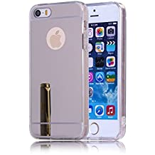 DBIT iPhone SE Funda, Gel Espejo TPU Silicona Ultra delgado Protección Funda Durable Estuche Carcasa Case para Apple iPhone 5 / 5S / SE,Plata