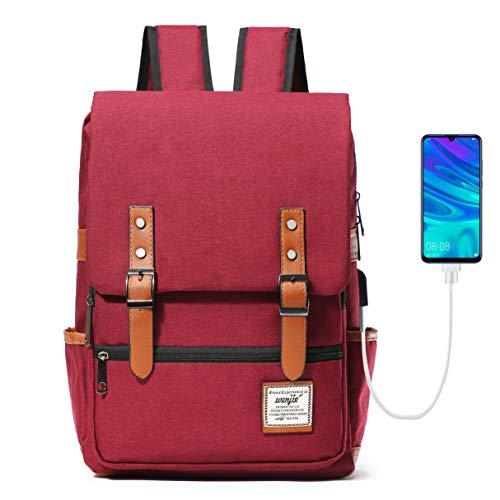 HapiLeap Laptop Rucksäcke Studenten Herren Rucksack Daypack mit USB-Ladeanschluss für Schule Arbeit (Rot)