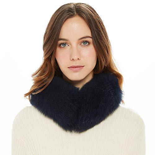Ferand donna sciarpa elegante calda reale della pelliccia di fox colletto rialzato, scaldacollo morbido taglia unica blu navy
