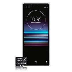 Sony Xperia 1 Smartphone Bundle (16,5 cm (6,5 Zoll) OLED Display, Dual-SIM, 128 GB Speicher, 6 GB RAM, Android 9.0) Weiß + gratis 64 GB Speicherkarte [Exklusiv bei Amazon] - Deutsche Version