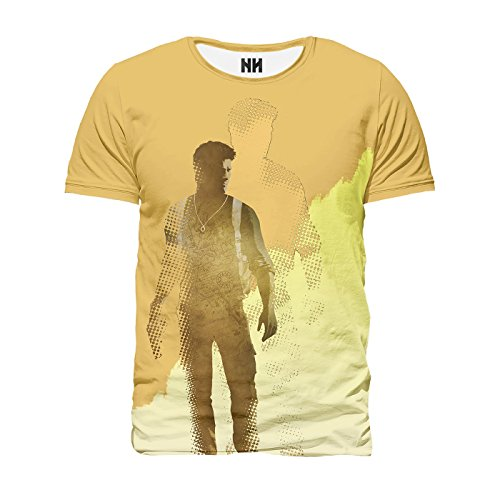 NATHAN DRAKE SOLITARY - Uncharted T-Shirt Man Uomo - Victor Sullivan La Fine di Un Ladro Playstation 4 Naughty Dog