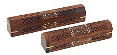 Stylla London Handmade Wooden Brown Incense Stick Holder Burner Storage Box Ash Catcher With Brass Inlay Home Utilities & Accessories