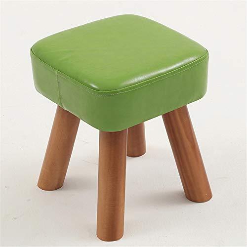 Afenger Hocker Hocker Massivholz Home Mode kreative Wohnzimmer Erwachsene Bank Kinder Sofa Hocker Leder Bank ändern Schuh Bank Couchtisch Hocker, 32 cm grün