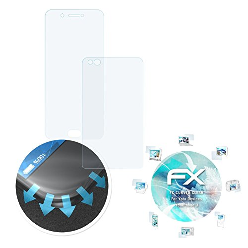 atFolix Schutzfolie für Yota Devices YotaPhone 3 Folie - 3er Set FX-Curved-Clear Flexible Displayschutzfolie für gewölbte Displays - vollflächiger Schutz bis zum Rand