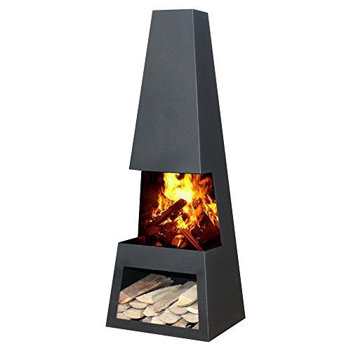 GardenMaxx Pular Black Steel Chiminea Outdoor Heater