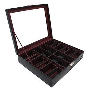 Cordays – Uhren und Krawatten Box Deluxe in Leder für 4 Uhren und 6 Krawatten mit Glasvitrine und Schloss. Premium Qualität Organizer CDM-00006