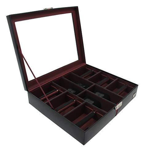 Cordays - Uhren und Krawatten Box Deluxe in Leder für 4 Uhren und 6 Krawatten mit Glasvitrine und Schloss. Premium Qualität Organizer CDM-00006