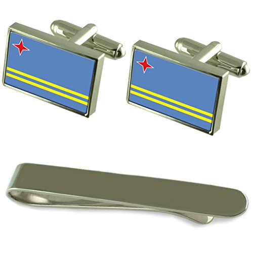 Aruba Flagge Silber Manschettenknöpfe Krawatten Geschenkset mit Gravur (Aruba Kurze Herren)