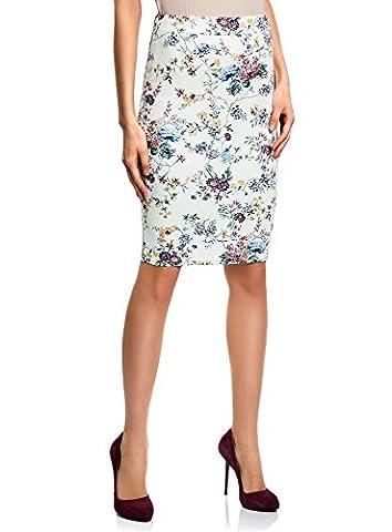oodji Ultra Women's Pencil Skirt in Textured Fabric, White, UK 6 / EU 36 / XS