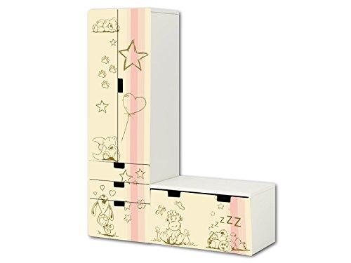 ""\""""Knuddelwelt"""" in beige / rosa Aufkleber-Set - SL17 - passend für die Kinderzimmer Aufbewahrungskombination STUVA von IKEA (L-Form) - Bestehend aus Schrank, Kommode mit 3 Fächern und Banktruhe - Möbel Nicht Inklusive  STIKKIPIX""