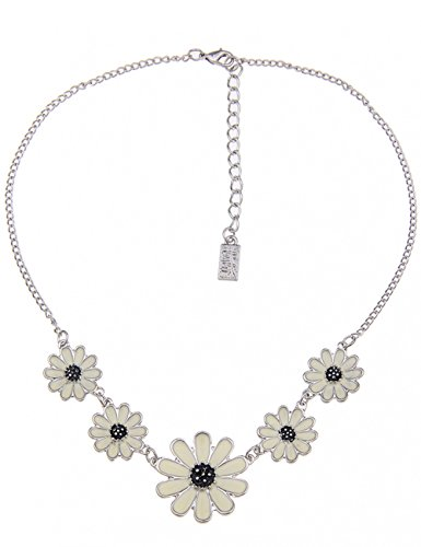 Leslii Damenkette Blumen-Look Blüten-Kette Collier Kurze Halskette Blumenkette weiße Modeschmuck-Kette 41cm Silber Weiß