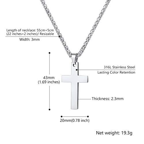 61faac6ad39d PROSTEEL Collar Hombre Mujer Colgante de Cruz Sencilla de Acero ...