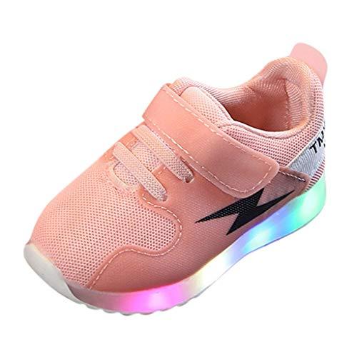 BASACA Kinder Jungen und Mädchen Mesh LED-Licht Schuhe Schlupfstiefel Warmer Helle Sneaker (30 EU, Pink)