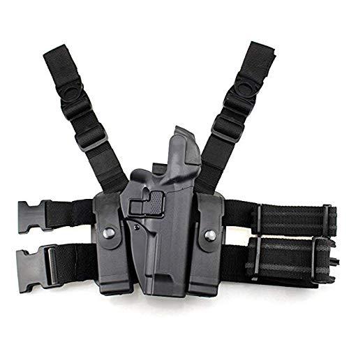 GexguneTactical Leg rechts Hand Paddle Oberschenkel Gürtel Level 3 Lock Duty Pistole Pistole w/Magazin Fackel Beutel für Colt 1911 und die meisten Klone mit oder w/o Schienen -