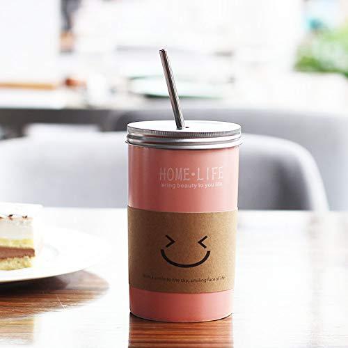 er-Ausdruck-Keramik-Schalen-kreative Wasser-Schalen-Milch-Kaffeetasse mit Stroh-Kursteilnehmer in der handlichen Schale 401-500ml B ()